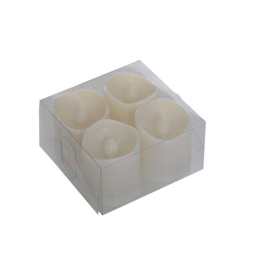 Greemotion LED Teelicht, 4-er Set, mit Batterien aus Kunststoff, Weiß