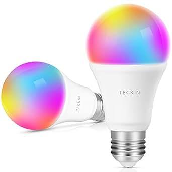 Ampoule LED Intelligente WiFi E27 à intensité variable et multicolore, Compatible avec Alexa, Echo, Google Home et IFTTT,TECKIN RGB Ampoule A19 60W 7,5W,Pas de Hub requis,2 pack