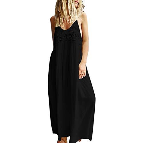 (BURFLY Damen Sommer ärmellose Sling einfarbig Durchbrochene Spitze Dress lose atmungsaktives sexy Kleid)