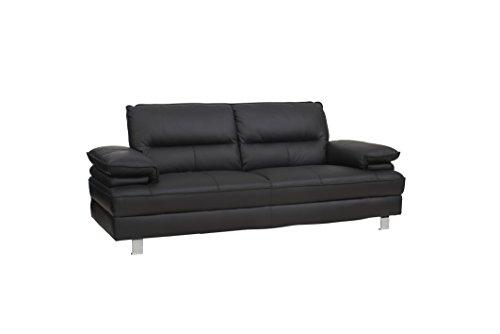 PKLine 3-Sitzer Sofa SILLE in schwarz Couch Couchgarnitur Wohnlandschaft Ledercouch