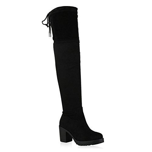 Stiefelparadies Damen Stiefel Schleifen Overknees Veloursleder-Optik Langschaftstiefel Boots Schuhe 130730 Schwarz Schwarz 38 Flandell
