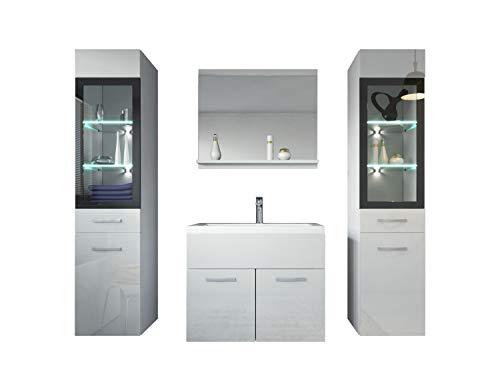 Badezimmer Badmöbel Set Rio XL LED 60 cm Waschbecken Hochglanz Weiß Fronten - Unterschrank 2x Hochschrank Waschtisch Möbel