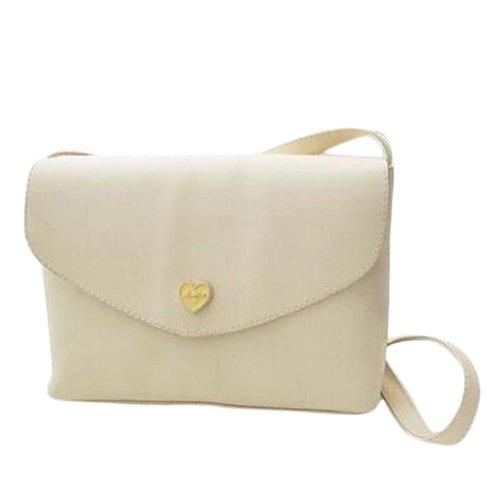 I8Q Donne cuore della pesca Borse Borse Small Luxury Leather Shoulder Messenger Bags bianco