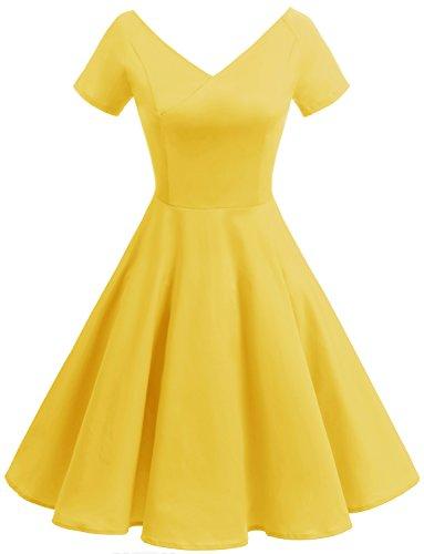 Gardenwed Damen Vintage 1950er V-Ausschnitt Rockabilly Kleid Partykleid Retro CocktailKleid Yellow S