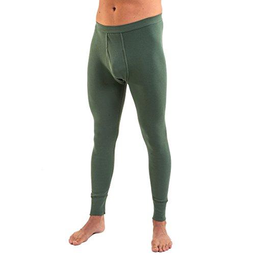 HERMKO 3540 Herren Lange Unterhosen mit Eingriff und Weichbund aus 100% Baumwolle in Feinripp, Größe:D 5 = EU M, Farbe:Olive