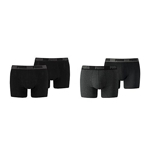 PUMA Herren Basic Boxer Boxershort Unterhose 10er Pack (6x Schwarz 4x Dark Grey Melange, M)