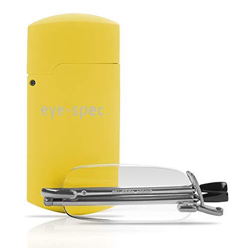 eye-pocket Zusammenklappbare Lesebrille | Stilvolles randloses Design mit gelbem Mini-Etui - von eye-spec (+1,0)
