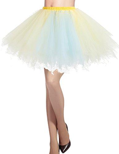 Dresstells Damen Tüllrock 50er rockabilly Petticoat Tutu Unterrock Kurz Ballett Tanzkleid Ballkleid Abendkleid Gelegenheit Zubehör Champagne-light Blue L (Jazz Tanz Kostüme Für Mädchen)