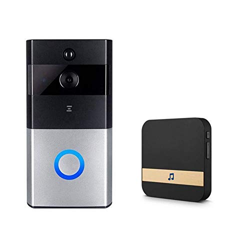 Smart Doorbell, WiFi Wireless Video Doorbell, Battery Powered, Night Vision, Real-Time Two-Way Talk and Video, 720P HD Video, PIR Motion Detection, Fit for IOS, Android/Inklusive Batterie + Dingdong Batterie-powered-video