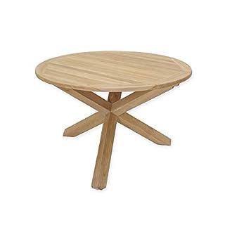 Antike Fundgrube Gartentisch Tisch Gartenmöbel rund aus massiven Teakholz 77x120x120 cm (6013)