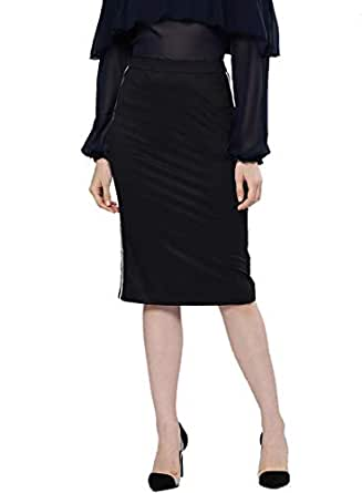 BESIVA Women's Viscose Skirt with Tape Detail at Side Seam