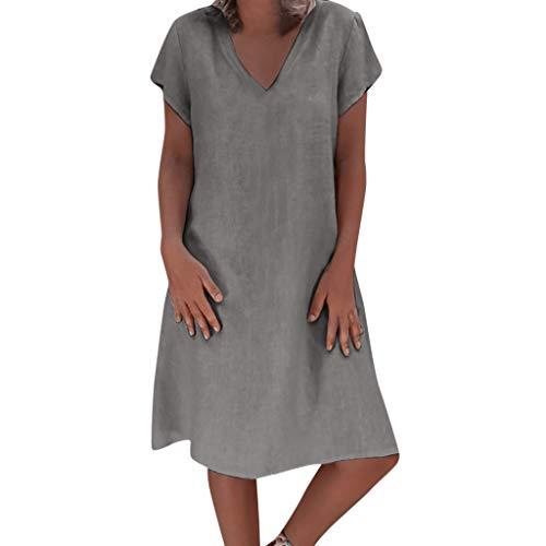 VECDY Damen Sommerkleid Kurze Ärmel Kleiden Volltonfarbe Leinen Oberteil Summer Tops Mode Beachwear Minikleid Hepburn Rock S-5XL