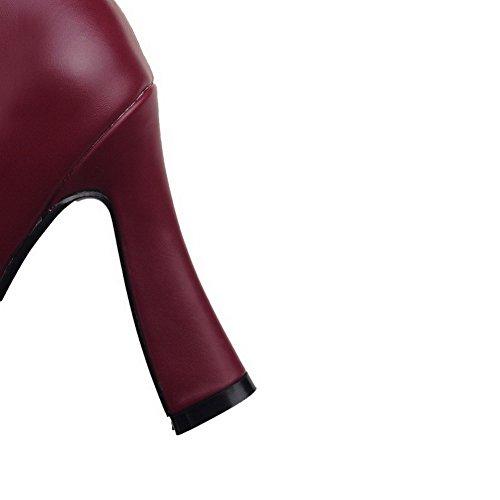 AgooLar Damen Reißverschluss Hoher Absatz Weiches Material Rein Niedrig-Spitze Stiefel Weinrot