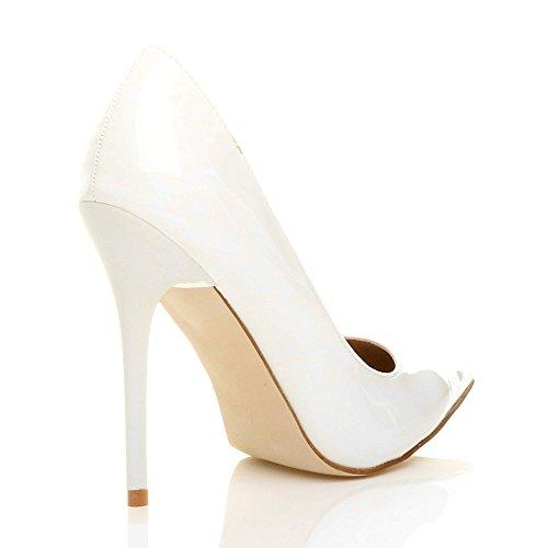 Donna tacco alto lavoro festa elegante scarpe de moda décolleté a punta taglia Bianca vernice