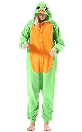 Damen Herren Jumpsuit Onesie Tier Fasching Halloween Kostüm Lounge Sleepsuit Cosplay Overall Pyjama Schlafanzug Erwachsene Unisex Schildkröte for Höhe 140-187CM