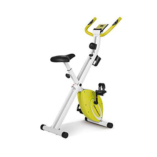 Ultrasport F-Bike Design, Fahrradtrainer, Heimtrainer, faltbares Fitnessbike mit Gelsattel, Flaschenhalter, LCD-Display, Handpulssensoren, kompakt und klappbar, belastbar bis 110 kg, Grün