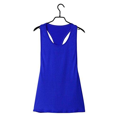 Bluestercool Femmes Eté Sexy Loose Gym Sport Vest Training Plusieurs couleurs Bleu