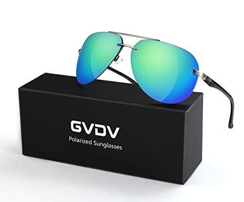 GVDV Polarisierte Sonnenbrille Metall Rahme Ultra Leicht, HD Nachtsicht, Sonnenbrille UV400 Schutz für Herren Damen beim Fahren, Angeln, Golfbrille