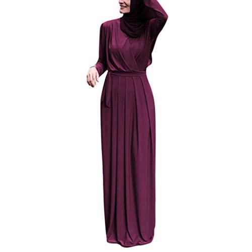 Langarm Formale Kleider (REALIKE Muslim Damen Einfarbig Langarm Kleid Tunika Abaya Dubai Elegant Kleider Maxikleid Abendkleid Knöchellang Kleid Hochzeit Kaftan Robe Gewand Islamische Kleidung Ramadan Gebet Kostüm)