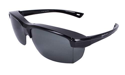 Rapid Eyewear 'Vogue' Schwarz SONNENÜBERBRILLE für Herren und Damen. Polarisiert Überbrille: Über Breite Gläser bis 140mm Passen. Geeignet für den Einsatz als Sportbrille und Autobrille