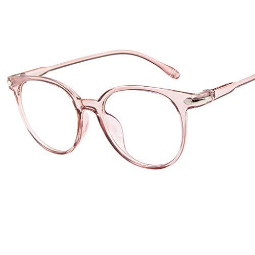 Preisvergleich Produktbild REALIKE Unisex Brille Elegant Flacher Spiegel Runder Rahmen Brillengestell Brille Anti-Blaulichtbrille,  Retro-Brillengestell Aus,  (Farbe : Blau,  Schwarz,  Lila,  Rosa,  Weiß)