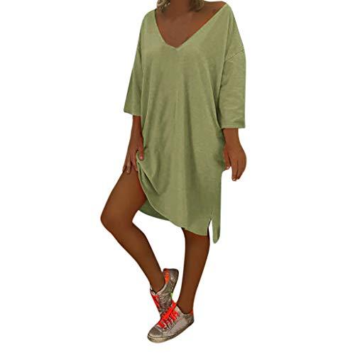Honestyi Frauen V Ausschnitt Feminino Vesti Kaftan Boho Strand Abdeckung Plus Size Damen Baggy Dress Vintage Laterne Ärmel A-Linie ()