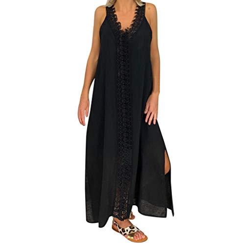 MEIbax Damen Einfarbige Schulterfrei ärmellos Maxikleid langes Spitzenkleid Lose Strandkleid Sommerkleider - Schwarz Viktorianischen Schuhe