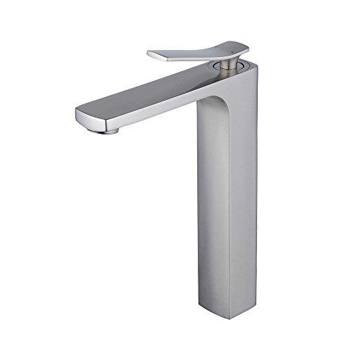 Beelee Gebürsteter Nickel Badarmatur für freistehende Waschschüsseln aus Messing, glatter Körper, extra hoher Auslauf