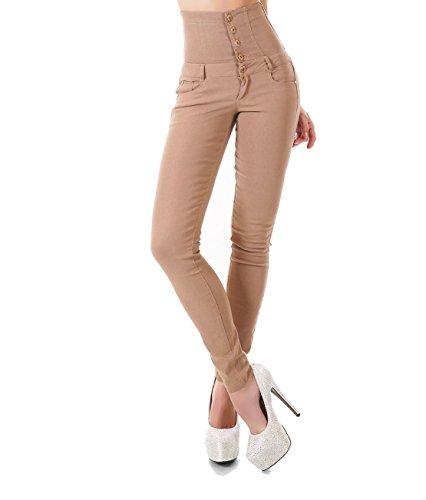 Damen High Waist Jeans Hose Corsagen Look Skinny Röhrenjeans Schnürung Schnürjeans Beige