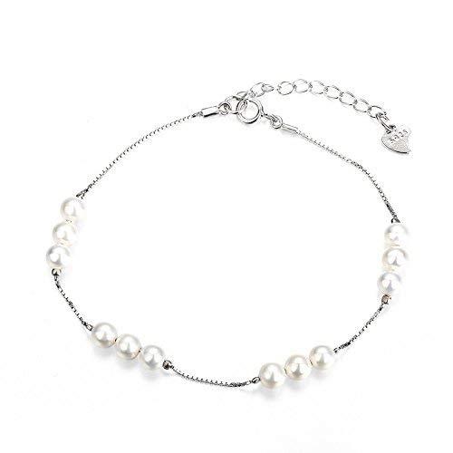 Filigraner Sterling Silber Initiale Charm Armband mit kleinen Shell Perlen Damen Alltag Schmuck Hochzeit Brautjungfer Geburtstag Jahrestag ()