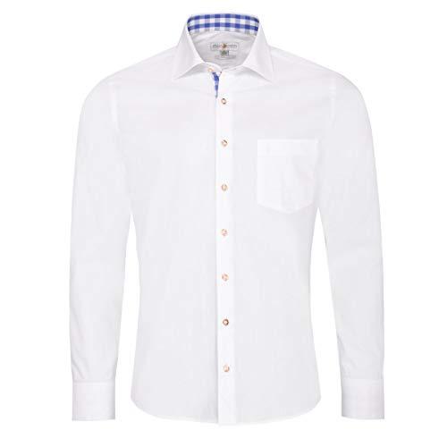 Almsach Herren Trachtenhemd Slim-Fit Slim-Line Trachten-Mode traditionell-kariert s-XXL in weiß, Größe:M, Farbe-Zweifarbig:Weiß/Jeans