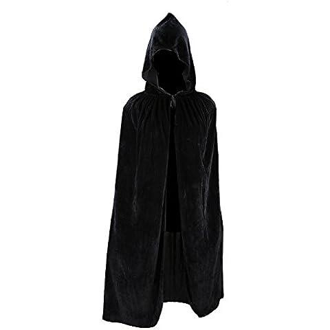 Capa de los ni?os Los ni?os del traje de raso de la capilla del Cabo larga con capucha de Halloween vestido de lujo de Navidad Cabo Negro Un