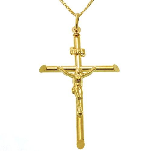 Große Herren-Halskette mit Kreuz-Anhänger aus 9-Kt-Gold, mit 45,7-cm-Goldkette und Schmuck-/Geschenk-Box