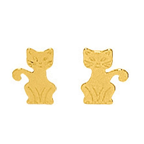 So Chic Joyas - Pendientes Gato Oro Amarillo 750/000 (18 kilates)
