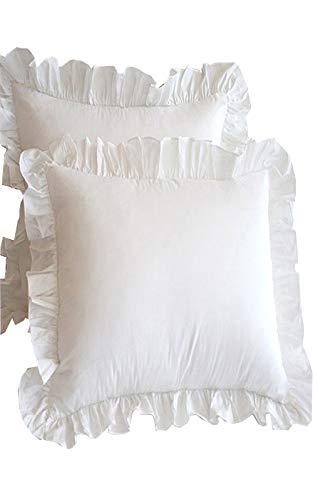 2 Stück Bettwäsche (Meaning4 Kopfkissenbezug Kissenbezüge mit Saum Rüschen Baumwolle Weiße 80 x 80 cm 2 Stück Bettwäsche)
