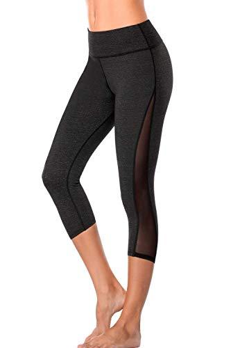 Ernte Damen Hosen (Sociala Damen hohe Taille und Yoga-Gamaschen Capri-Hosen mesh-Sporthose mittel dunkelgrau mit Netz)