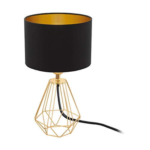 EGLO Tischlampe Carlton 2, 1 flammige Vintage Tischleuchte, Material: Stahl, Stoff, Farbe: Gold, schwarz, Fassung: E14, inkl. Schalter