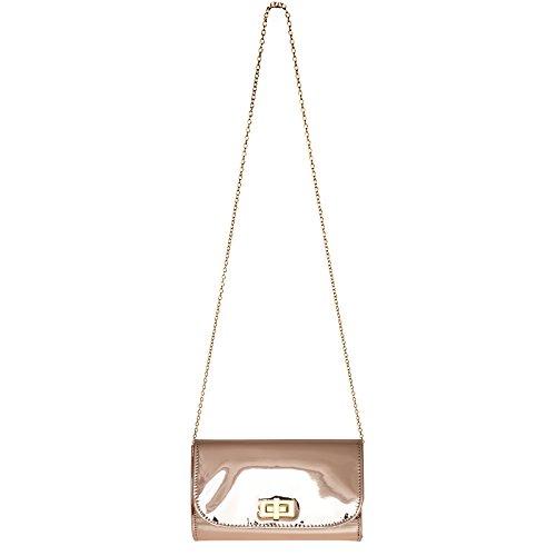Caspar Ta377 Elegante Pochette Da Donna In Lacca Metallizzata Elegante / Borsa Da Sera Con Lunga Catena In Oro Rosa