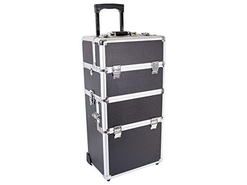 Beauty Trolley INFINITY Aluminium schwarz - Kosmetik-Koffer - Friseur-Koffer - Schmink-Koffer - Nageldesign-Koffer -
