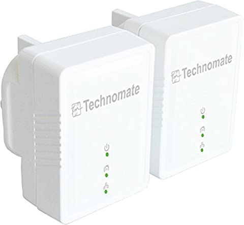 Technomate 500 Mbps HomePlug AV Powerline Adapter Starter Kit (Pack of 2)