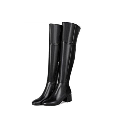 YYH Ronde tête Plus velours hiver bottes cuir Casual chaussures chausson féminin du genou Black