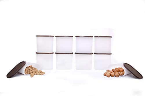 Tallboy Space Saver Plastic Kitchen Food Storage Container, 1800 ml, Set of 10, White and Brown