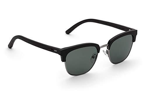 TAKE A SHOT - Halbrahmen Holz-Sonnenbrille unisex, Holz-Bügel mit Metall-Kunststoff-Rahmen, UV400 Schutz, rückentspiegelte Gläser