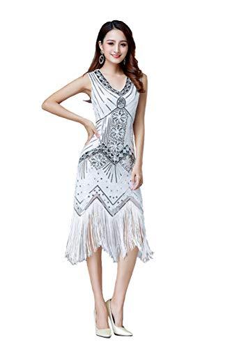 Grouptap 1920er Jahre weiße V-Ausschnitt Flapper Gatsby Pailletten gesäumt Formale langes Kleid für Womens 1920 ausgefallene Hochzeitskostüm (Weiß, EU 38) - Flapper Schwarze Kleid Lange
