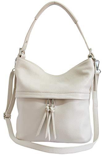 AmbraModa Damen Handtasche Schultertasche Beutel aus Echtleder GL024 (Creme) -