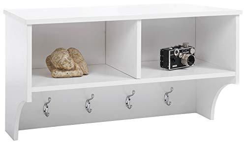 ts-ideen Landhaus Stil Wand Flur Garderobe Holz Küchenregal Handtuchhalter Weiß