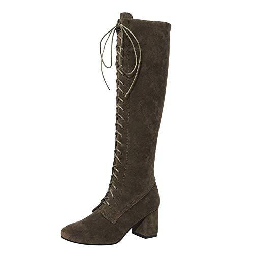 ZHRUI Damen Riemen schlanke Schnürstiefel über den Knie High Heels Stiefel Schuhe, Sportschuhe für Damen, Frauen Stiefel (Farbe : Grün, Größe : 7)