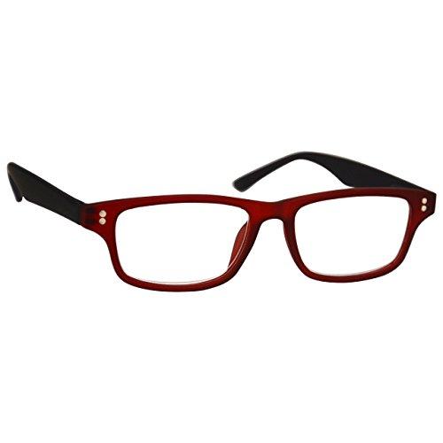 UV Reader Gummierte Rot Schwarz Kurzsichtigkeit Entfernung Brille Herren Frauen Mit Etui UVMR033...