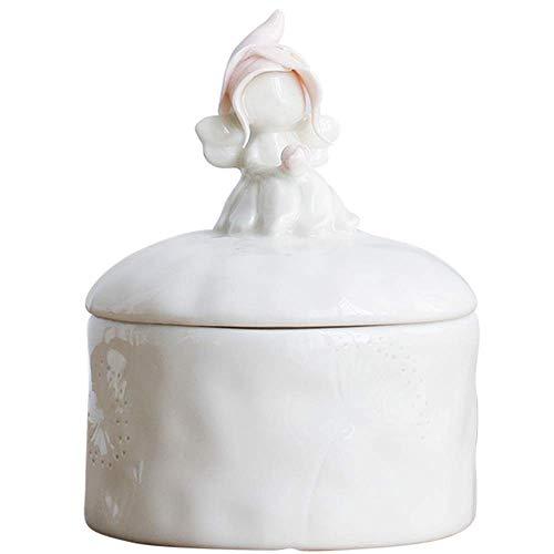 LXDzSP Qualitätskeramik-Vorratstank, nordische Art-runde rosa Hut-Schmuckschatulle, Büro, Puder-Weiß, 9.5 * 9.5 * 13cm Dekor (Schwester Statuen)