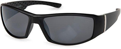 styleBREAKER Sport Sonnenbrille verspiegelt oder getönt, Vollrand Sportbrille, Unisex 09020048, Farbe:Gestell Schwarz/Glas Grau getönt